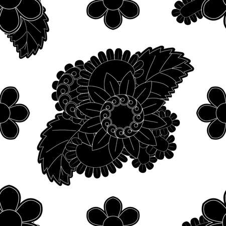 Set of seamless with delicate flowers in black and white color flower patterns on white background, sample for fabric and print paper. Ilustração