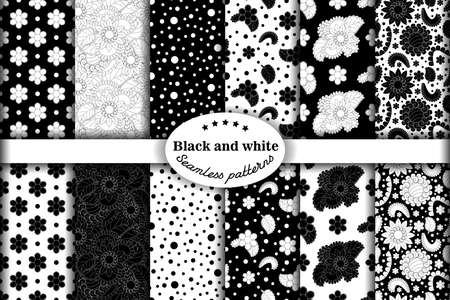 Set of seamless light with drawing flowers in black and white color flower patterns on white backgrounds. Vector illustration