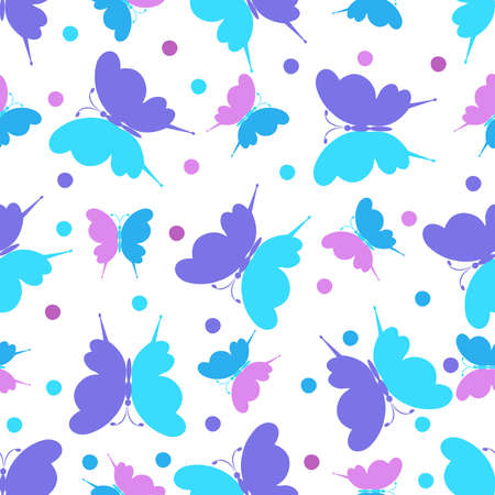 Seamless pattern with butterfly ornament in purple,  pink and light blue pink tones on a white background. Vector illustration