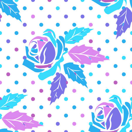 Seamless pattern with ornament of roses and circles in purple,  pink and light blue pink tones on a white background. Vector illustration