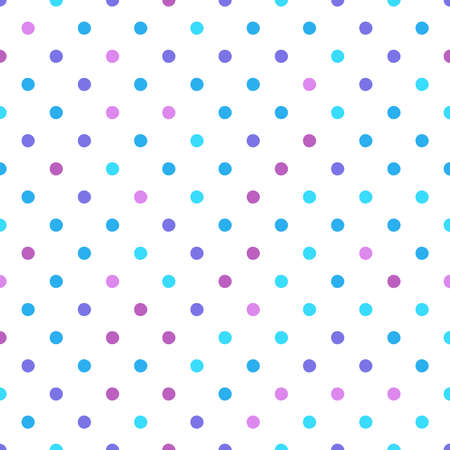 Seamless pattern with circle ornament in purple,  pink and light blue pink tones on a white background. Vector illustration