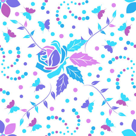 Seamless pattern with beautiful flower ornament in purple, pink and light blue pink tones on a white background. Vector illustration