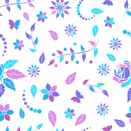 Seamless pattern with openwork floral ornament in purple,  pink and light blue pink tones on a white background. Vector illustration