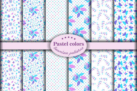 Set of seamless patterns with beautiful flower ornament in purple,  pink and light blue pink tone flower on white backgrounds. Vector illustration