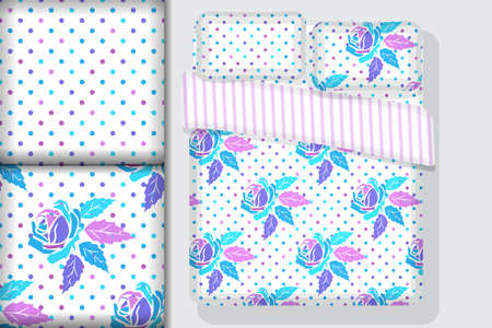 Two seamless patterns with openwork floral ornament in purple,  pink and light blue pink tones and Bed Linens mockup, design concept for fabric and print paper, vector illustration