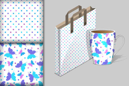 Two seamless patterns with openwork floral ornament in purple,  pink and light blue pink tones, Bag and Cup mockup, design concept for fabric and print paper, vector illustration