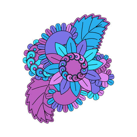 Colorful sticker of flowers in pink, purple and blue colors, vector illustration Ilustração