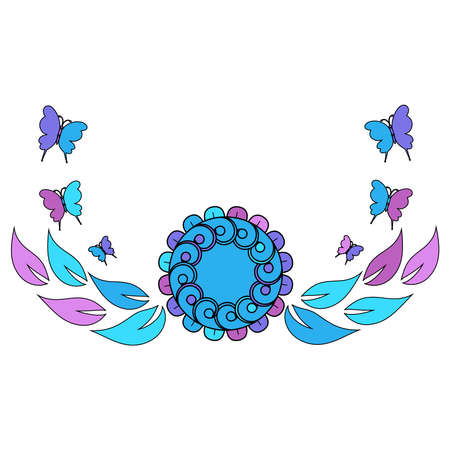 Colorful pattern of flowers in pink, purple and blue colors, vector illustration