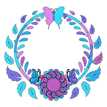 Colorful pattern or frame of flowers in pink, purple and blue colors, vector illustration Ilustração