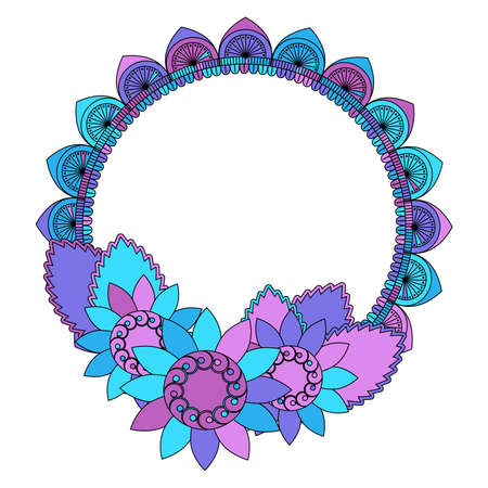 Multicolored pattern or frame of flowers in pink, purple and blue colors, vector illustration