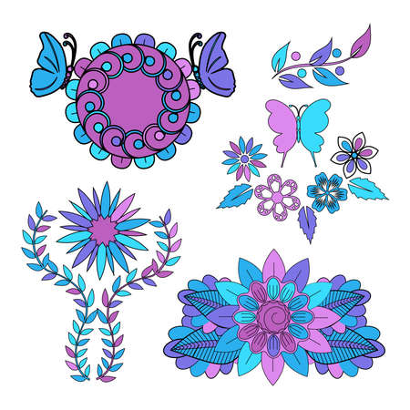 Set of multi-colored stickers of flowers in pink, purple and blue colors, vector illustration