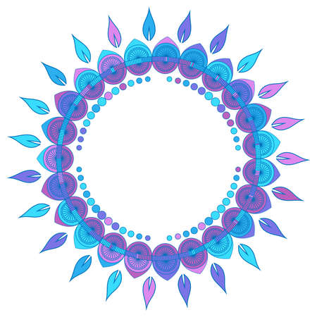 Colorful frame of flowers in pink, purple and blue colors, vector illustration Ilustração