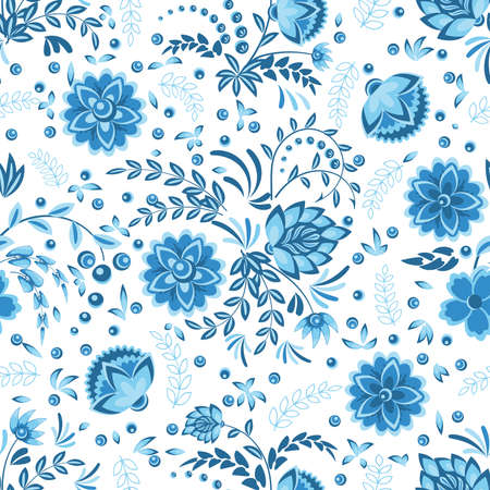 Seamless pattern with openwork floral ornament in blue, light blue and white in gzhel style. Vector illustration Ilustração