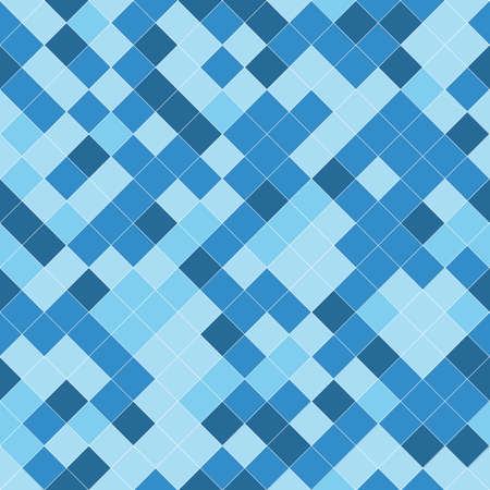 Seamless pattern with geometric ornament in blue, light blue and white. Vector illustration