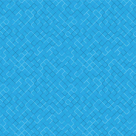 Seamless pattern with geometric ornament in blue, light blue and white on a blue background. Vector illustration