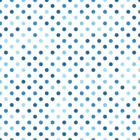 Seamless pattern with circle ornament in blue and light blue on white background. Vector illustration