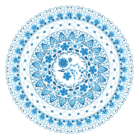 Circular openwork floral ornament in blue and light blue tones in gzhel style on a white background. Vector illustration Ilustração
