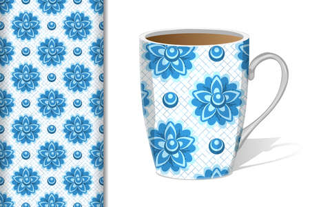 Seamless pattern with flowers in blue and light blue colors in gzhel style on a white background with Cup mockup, design concept for fabric and print paper, vector illustration