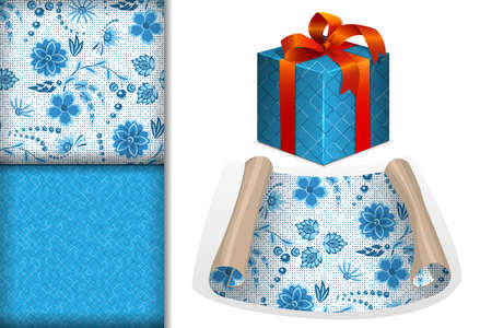 Two seamless patterns with flowers in blue and light blue colors in gzhel style on a white background, Paper Roll and Gift and mockup, design concept for design of fabric and paper for printing, vector illustration