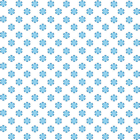 Seamless pattern with geometric beautiful floral ornament in blue and light blue colors in gzhel style on a white background. Vector illustration
