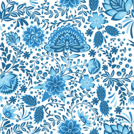 Seamless pattern with openwork floral ornament in blue and light blue colors in gzhel style on a white background. Vector illustration