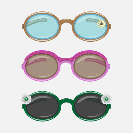 Sunglasses, glasses different design for design, vector illustration. Summer day