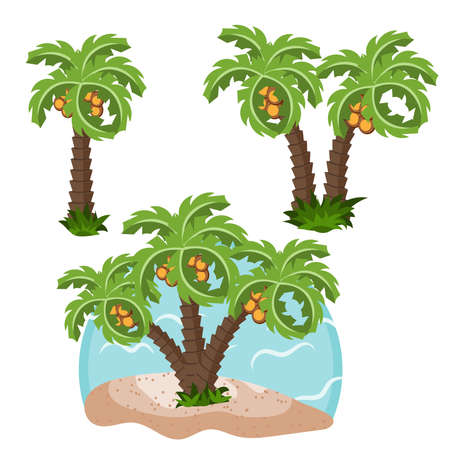 Palm trees different design for design, vector illustration. Summer day