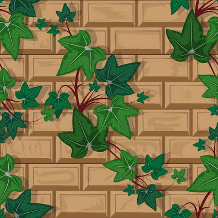 Texture brick wall with climbing plant seamless pattern, vector illustration