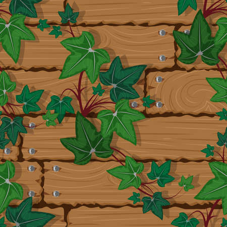 Texture wooden wall with climbing plant seamless background, vector illustration