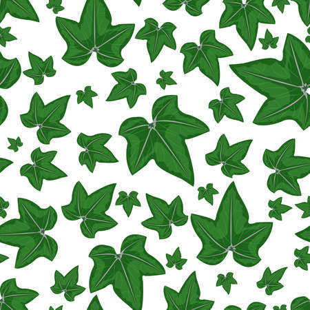 Green grape leaves on a white background, seamless pattern. Vector illustration