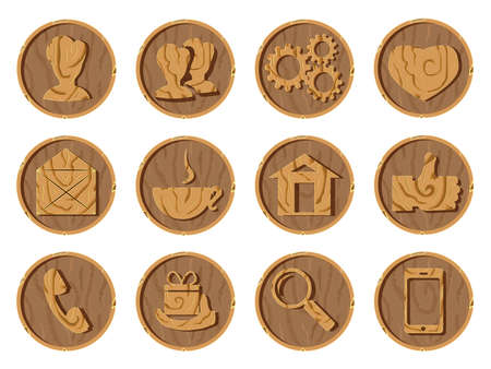 Wooden icons 3D on a round wooden background, vector illustration.. Part one