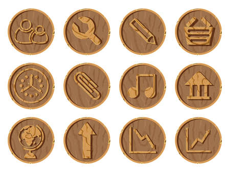 Wooden icons 3D on a round wooden background, vector illustration.. Part two Ilustração