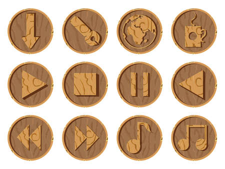 Wooden icons 3D on a round wooden background, vector illustration. Part three