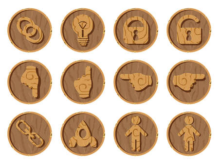 Wooden icons 3D on a round wooden background, vector illustration. Part four Ilustração