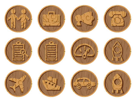Wooden icons 3D on a round background, vector illustration. Part six