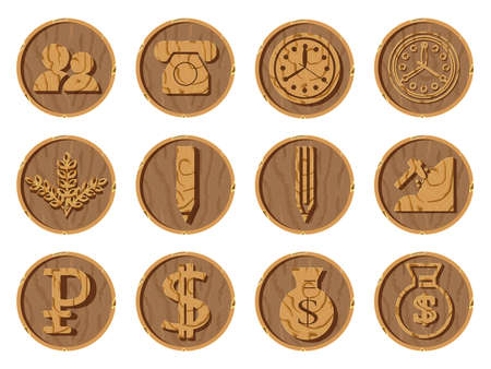 Wooden icons 3D on a round background, vector illustration. Part seven