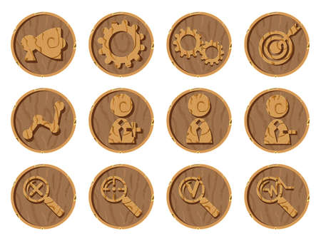 Wooden icons 3D on a round background, vector illustration. Part five