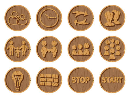 Wooden icons 3D on a round background, vector illustration. Part eight