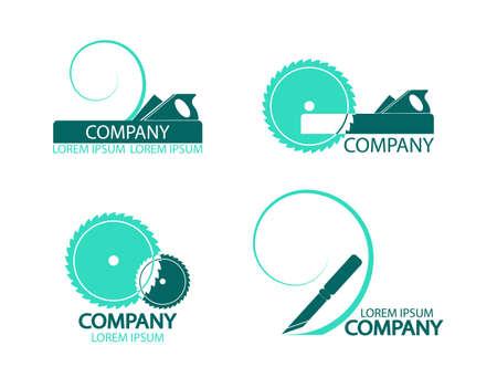 logotipo de construccion: Un conjunto de logotipos, emblemas de herramientas de carpintero. Es bueno utilizar el logotipo o s�mbolo de su empresa. Ilustraci�n del vector en estilo plano. Puede editar