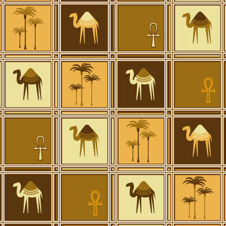 hump: Seamless pattern with camels and palm trees. Template for design fabric, wrapping paper, bags, caps, postcards, invitations. Vector illustration Illustration