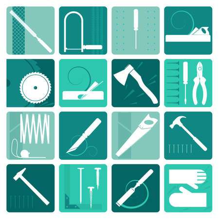 herramientas carpinteria: Set of carpentry tools, labels and design elements. Vector illustration in flat style