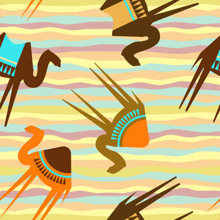 Seamless pattern with camels. Template for design fabric, wrapping paper, bags, caps, postcards, invitations. Vector illustration Illustration