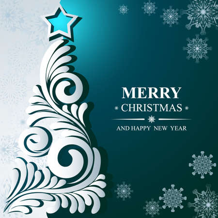 Poster Merry Christmas and Happy New Year. Winter pattern with Christmas toys. Ideal for banner, poster, invitations and greeting cards for holidays New Year and Christmas. Vector illustration