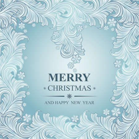 rime: Poster Merry Christmas and Happy New Year. Winter pattern with Christmas toys. Ideal for banner, poster, invitations and greeting cards for holidays New Year and Christmas. Vector illustration