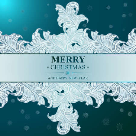 rime frost: Poster Merry Christmas and Happy New Year. Winter pattern with Christmas toys. Ideal for banner, poster, invitations and greeting cards for holidays New Year and Christmas. Vector illustration
