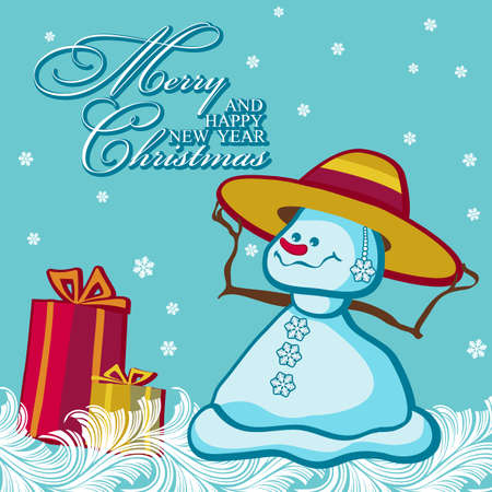 snow woman: Christmas greeting card with funny snow woman on winter background with frosty patterns. Vector illustration.