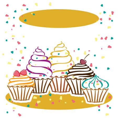 birthday cakes: Cards with cupcakes. Ideal for posters, advertisements, announcements, labels, banner, menu for cafe and restaurants. Vector illustration
