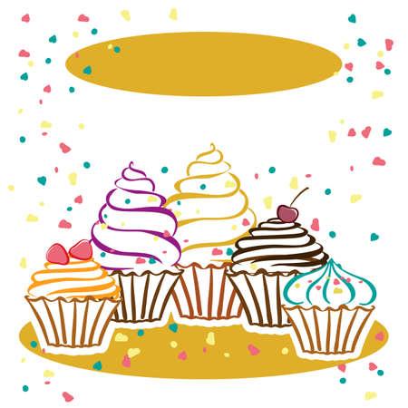 tortas de cumpleaños: Tarjetas con pastelitos. Ideal para carteles, anuncios, anuncios, etiquetas, bandera, menú para los cafés y restaurantes. Ilustración vectorial