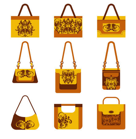 fashionable: Collection of fashionable womens bags, isolated on white background. Ideal for presentations, advertising. Vector illustration in flat style.