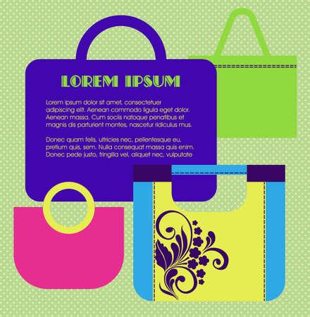 handbags: Banner with womens handbags. Ideal for presentations, advertising. Vector illustration in flat retro style Illustration